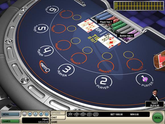 Immagine di un tavolo da gioco virtuale del Baccarat di colore blu e dashboard
